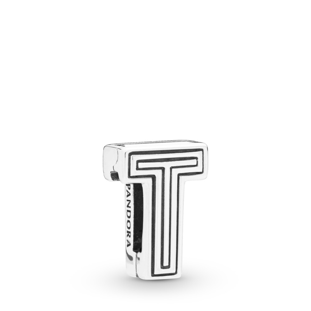 Pandora Reflexions™ Letter T Clip Charm, Sterling silver, Silicone - PANDORA - #798216