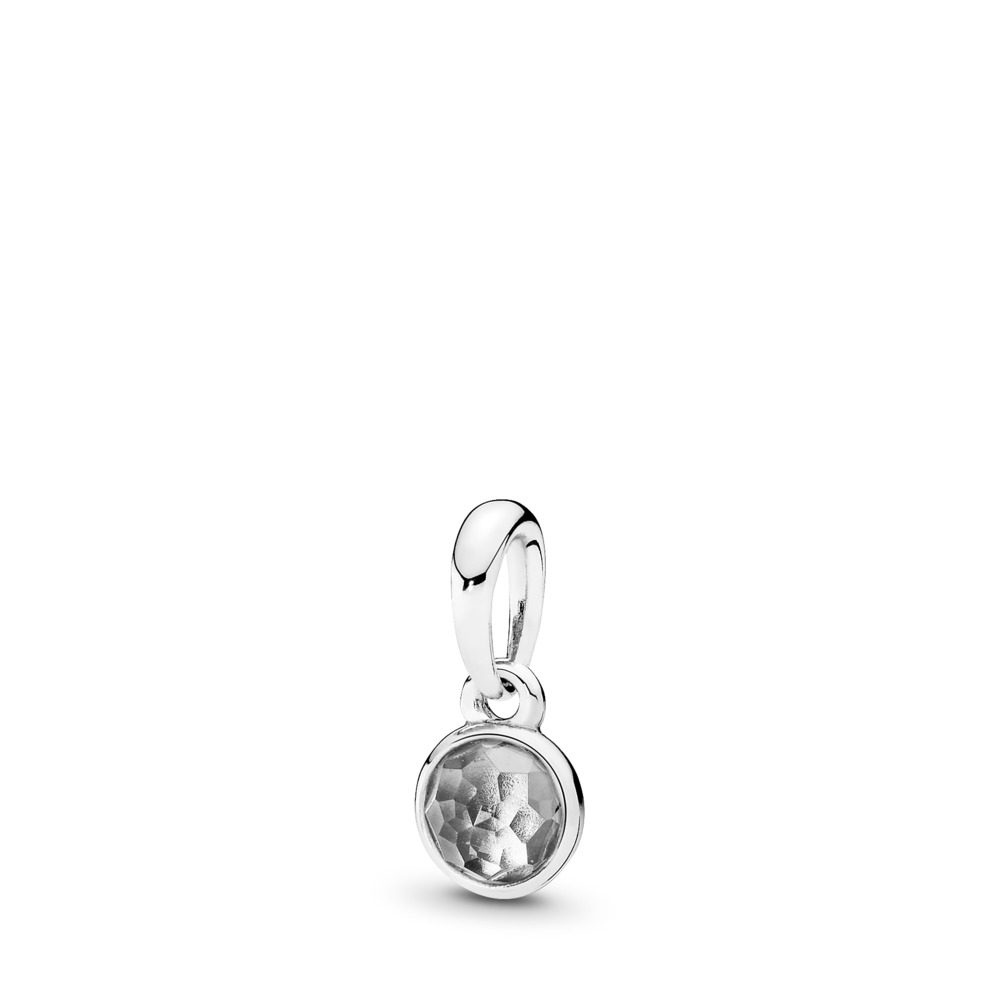 April Droplet Pendant, Rock Crystal, Sterling silver, Grey, Rock crystal - PANDORA - #390396RC