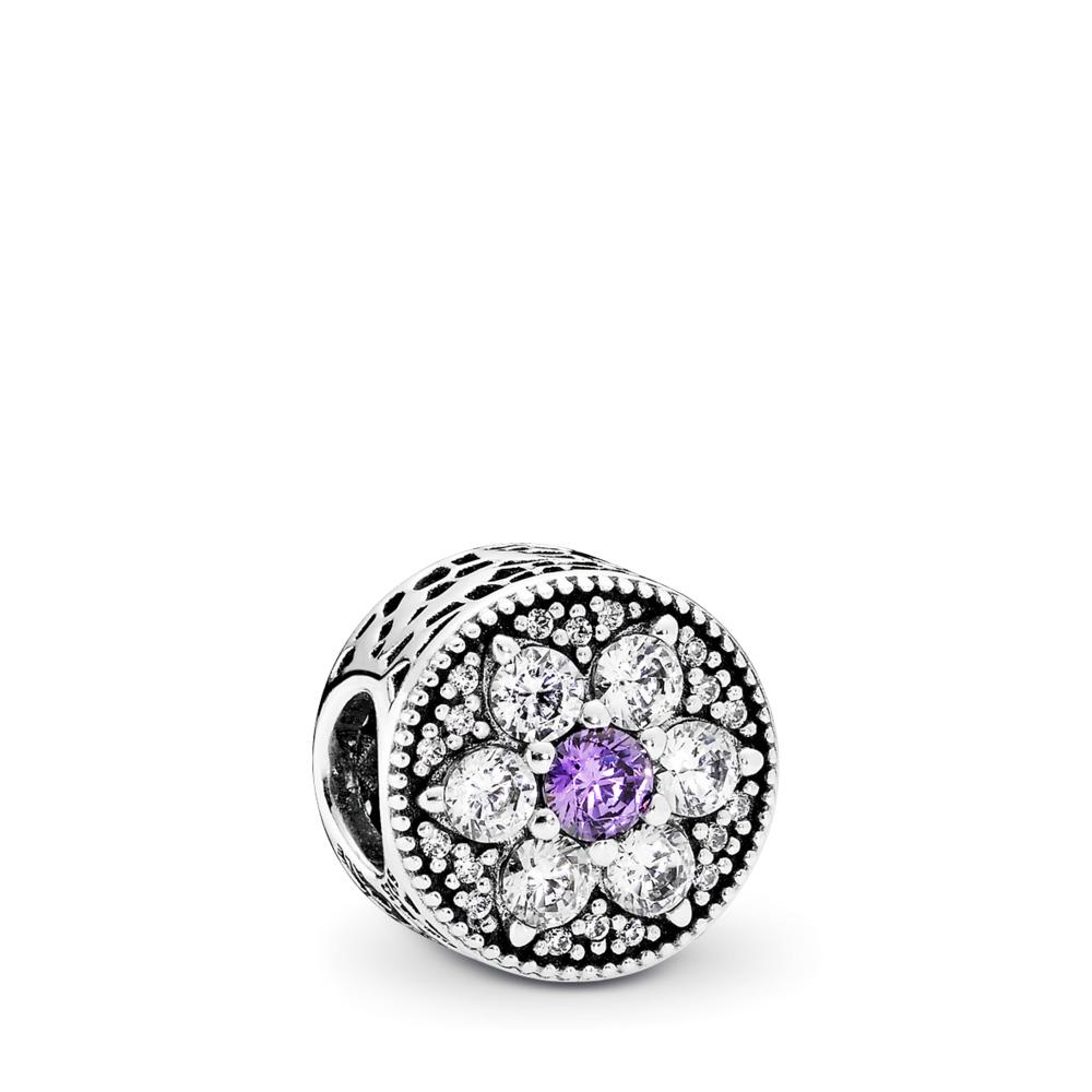 Forget Me Not Charm, Purple & Clear CZ, Sterling silver, Purple, Cubic Zirconia - PANDORA - #791832ACZ