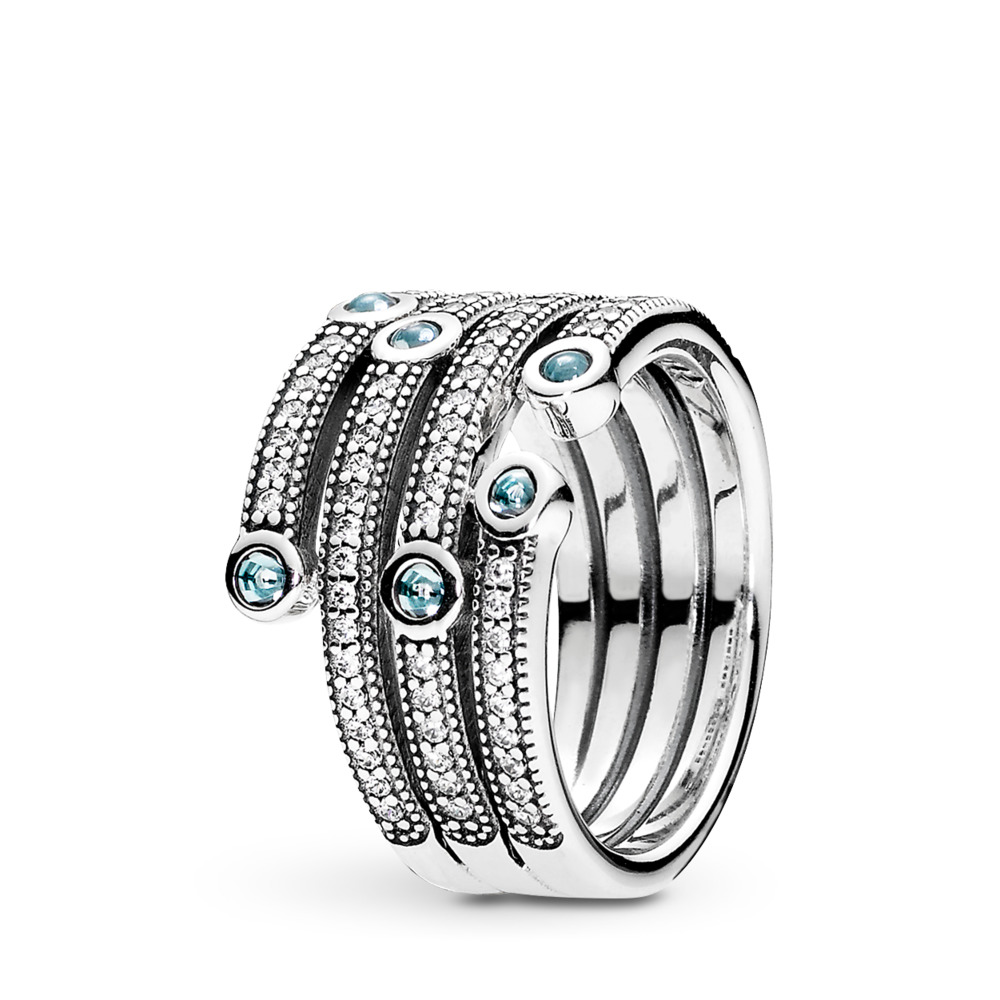 Shimmering Ocean Ring, Frosty Mint & Clear CZ, Sterling silver, Cubic Zirconia - PANDORA - #191002CZF
