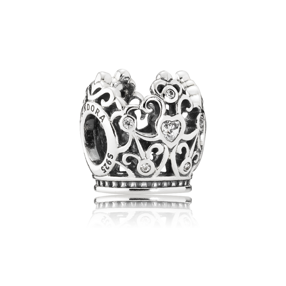 Disney, Princess Crown Charm, Clear CZ