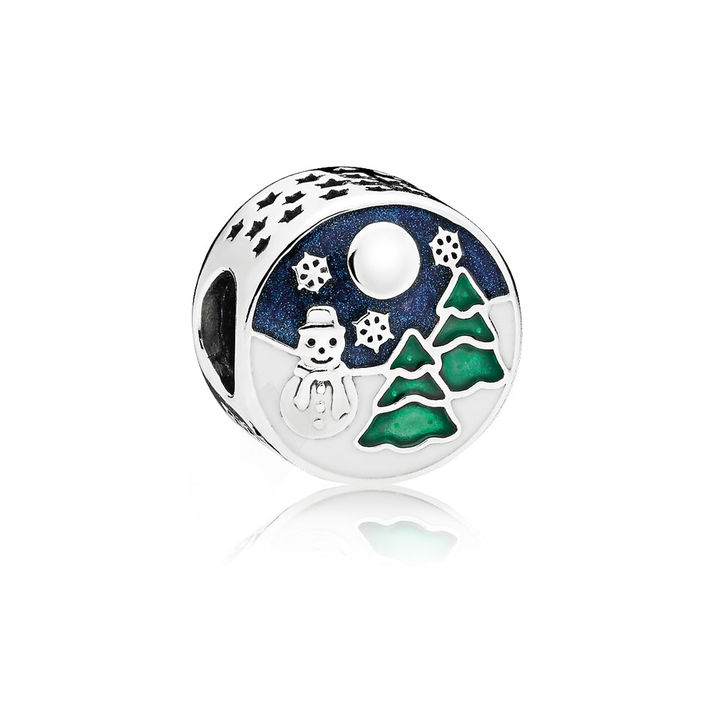 Snowy Wonderland Charm, Blue & Green Enamel
