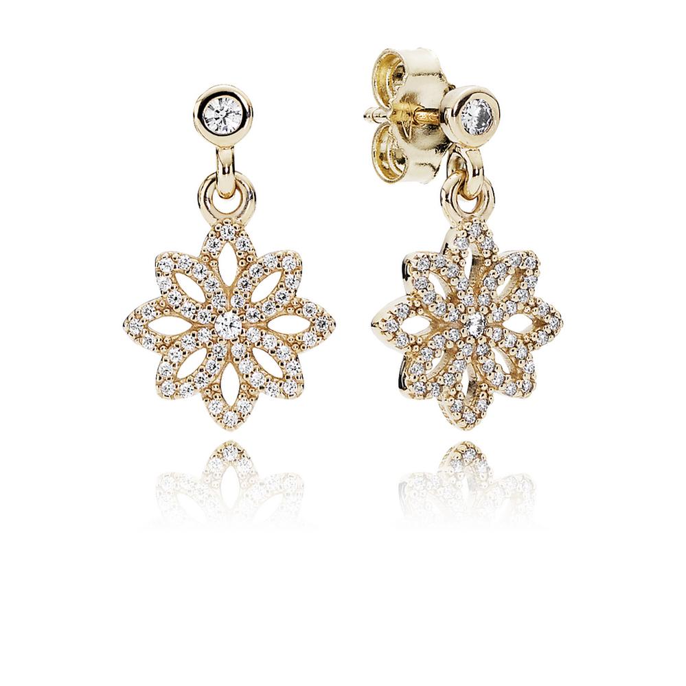 Lace Botanique Drop Earrings, Clear CZ & 14K Gold