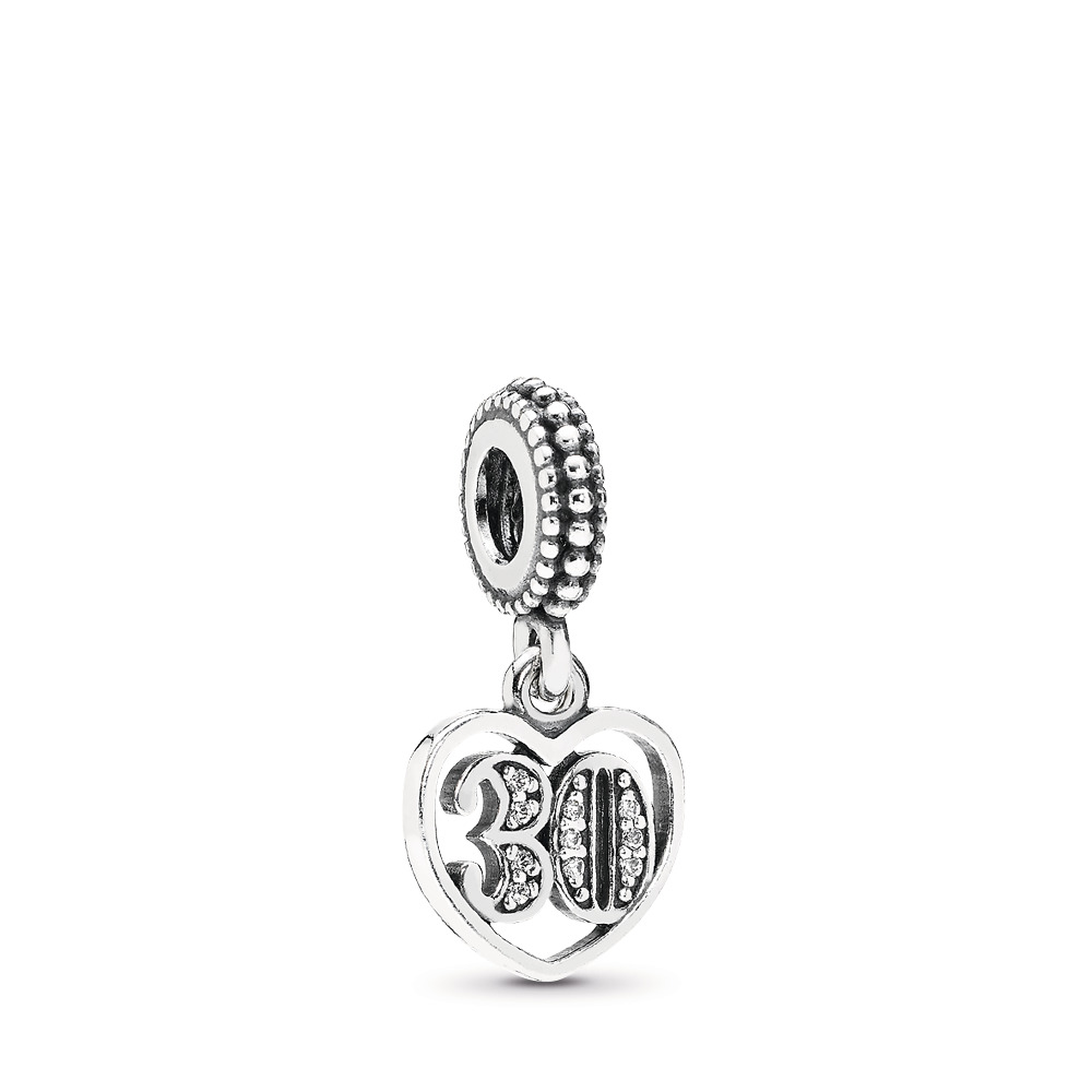 30 Years Of Love Dangle Charm, Clear CZ, Sterling silver, Cubic Zirconia - PANDORA - #791287CZ