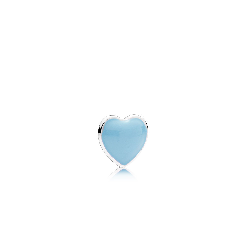 Blue Heart Petite Locket Charm, Baby Blue Enamel
