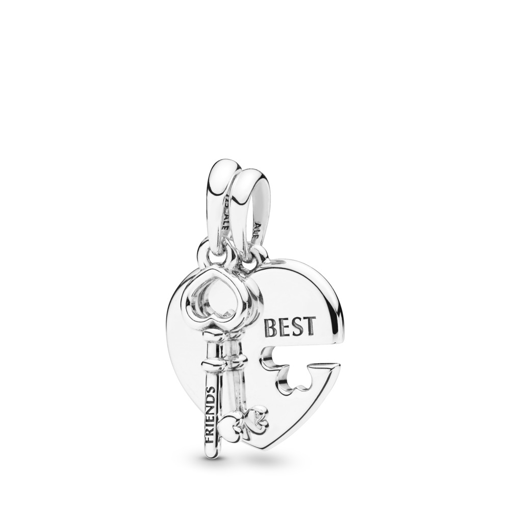 Best Friends Heart & Key Necklace Pendant, Sterling silver - PANDORA - #398130