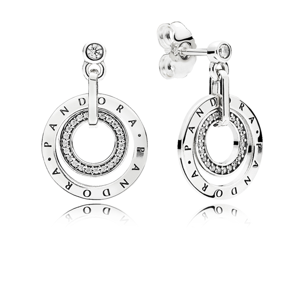 PANDORA Circles Drop Earrings, Clear CZ