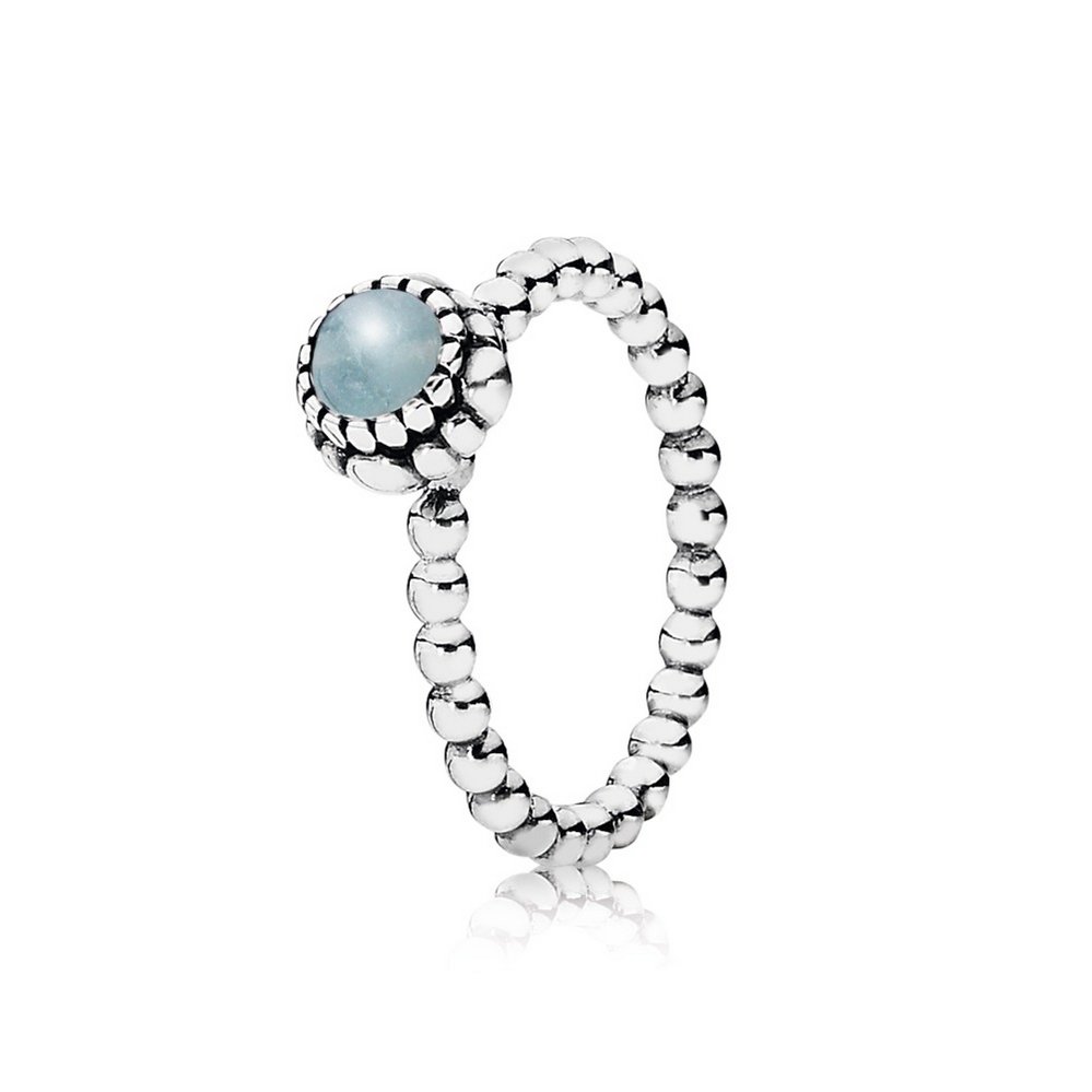 Birthday Blooms Ring, March, Aquamarine