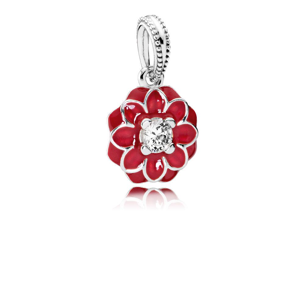 Oriental Bloom Dangle Charm, Red Enamel & Clear CZ