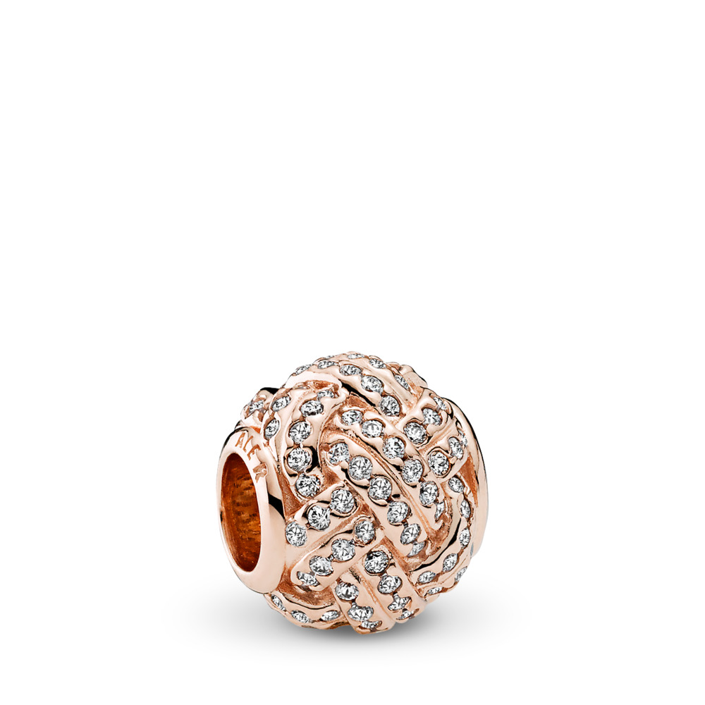Sparkling Love Knot Charm, PANDORA Rose™ & Clear CZ, PANDORA Rose, Cubic Zirconia - PANDORA - #781537CZ