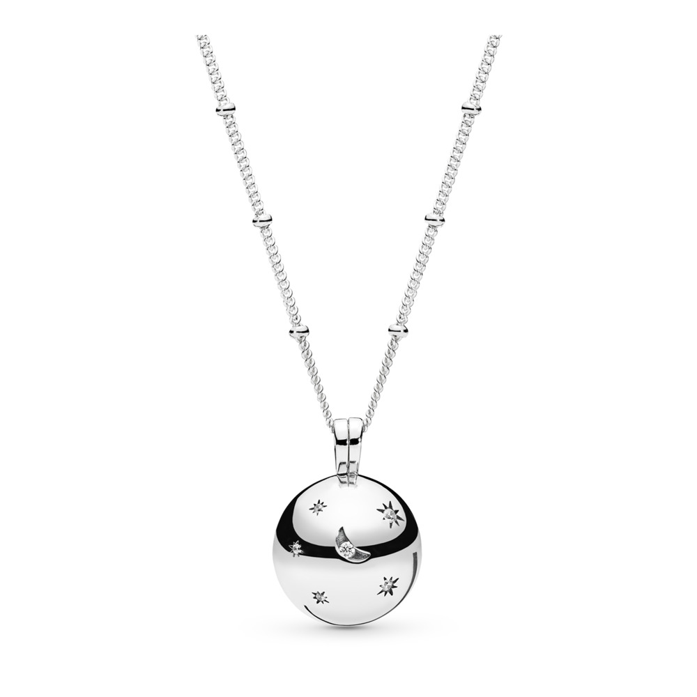 Moon and Stars Necklace, Clear CZ, Sterling silver, Cubic Zirconia - PANDORA - #397537CZ