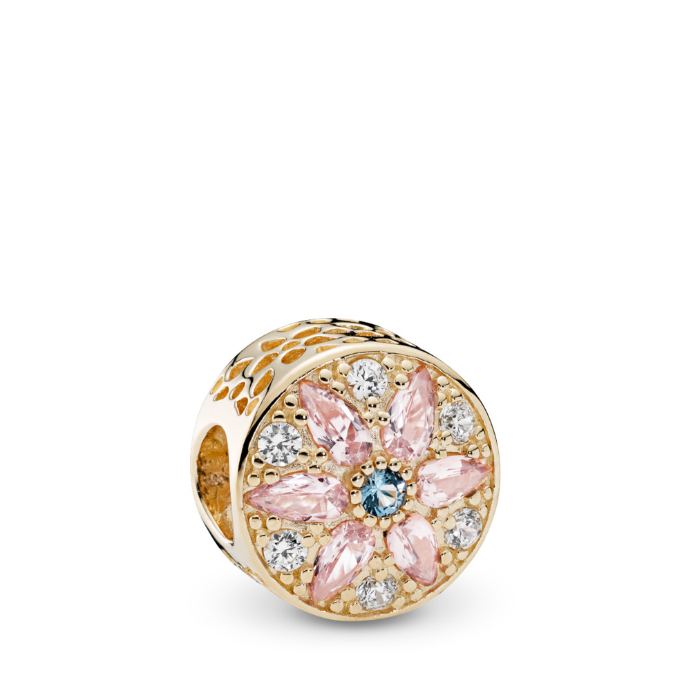 Opulent Floral Charm, 14K Gold, Multi-Colored Crystals & Clear CZ, Yellow Gold 14 k, Blue, Mixed stones - PANDORA - #751003NBP