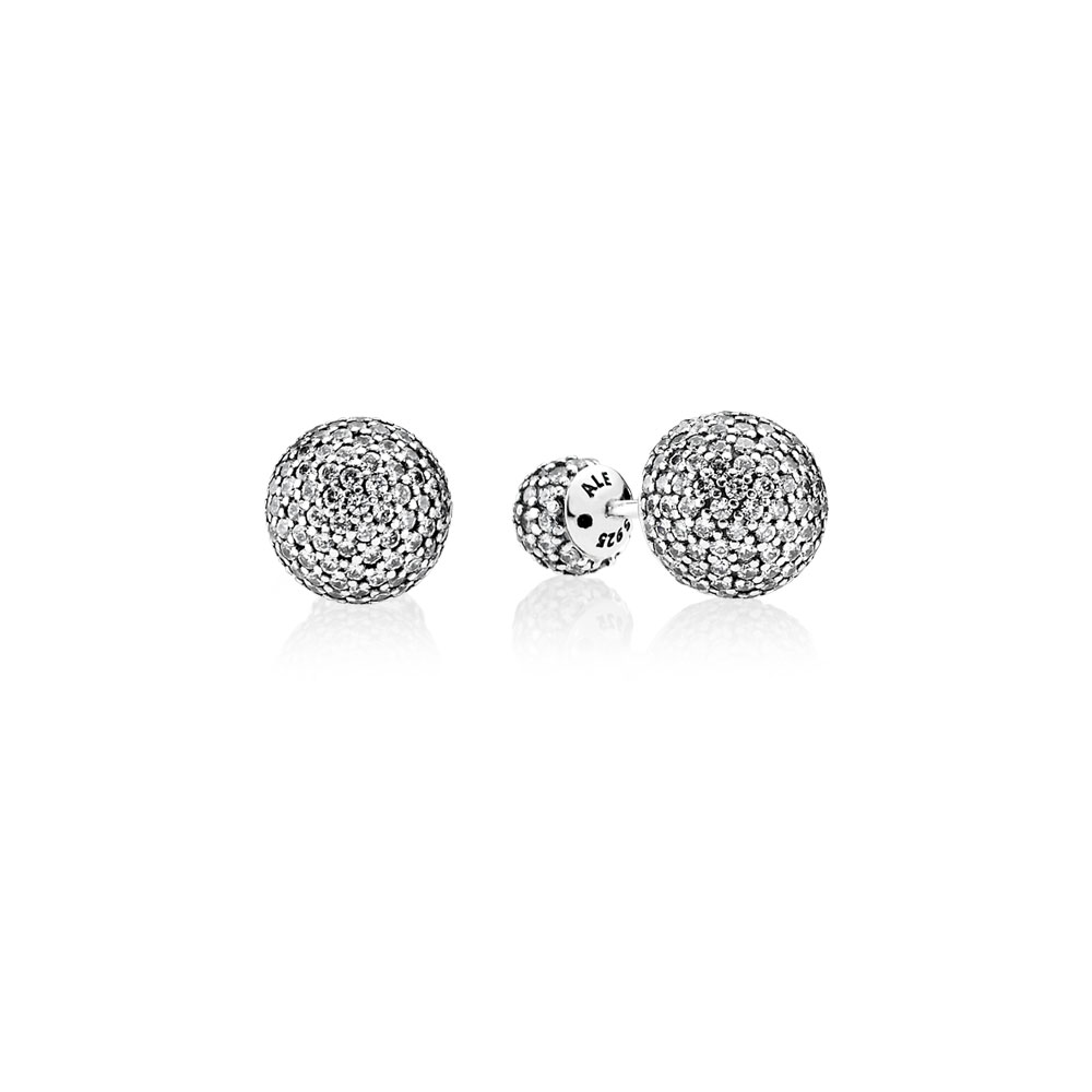 Pavé Drops Stud Earrings, Clear CZ