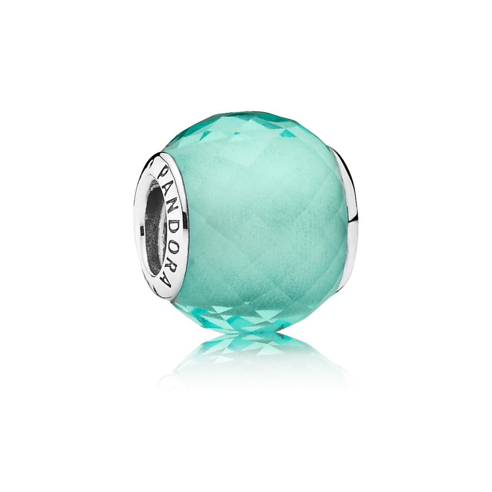 Petite Facets Charm, Synthetic Green Quartz, Sterling silver, Green, Synthetic Quartz - PANDORA - #791499SGQ