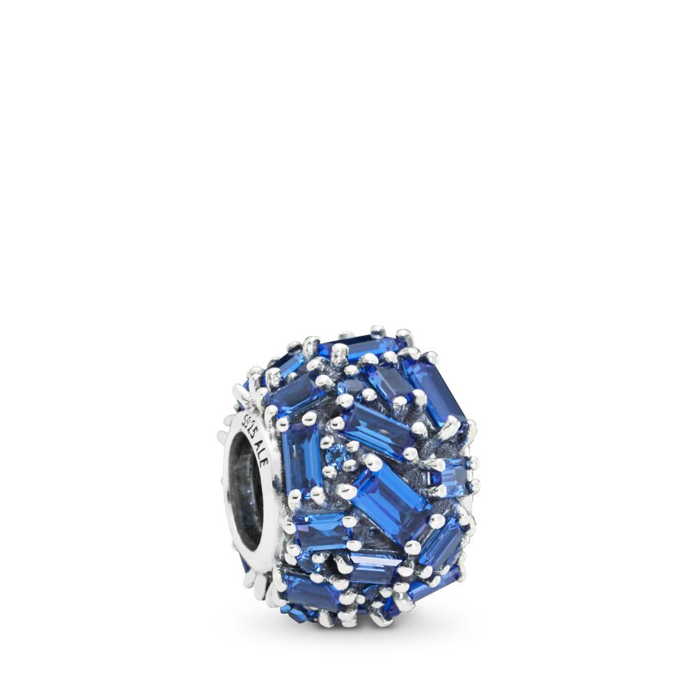 Chiselled Elegance Charm, Blue Crystal, Sterling silver, Blue, Crystal - PANDORA - #797746NSBL