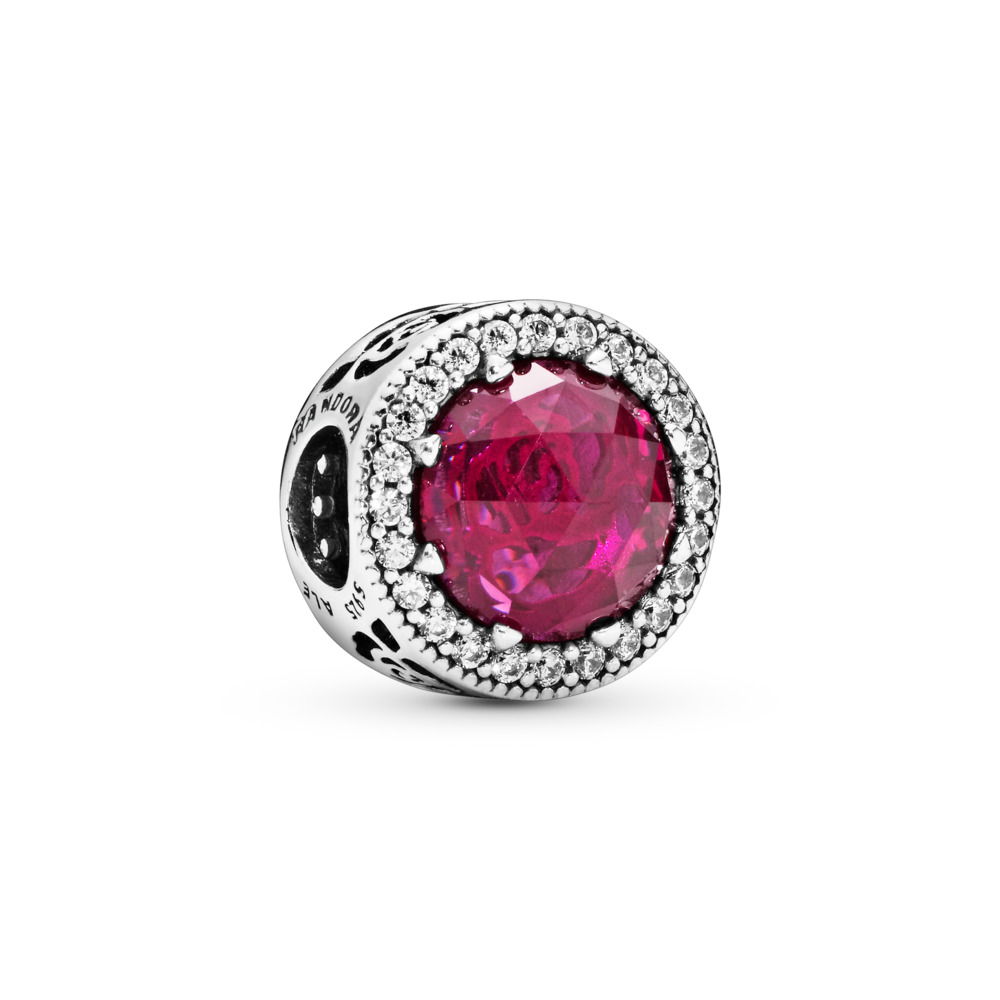 Disney, Belle's Radiant Rose Charm, Cerise Crystals & Cubic Zirconia, Sterling silver, Pink, Mixed stones - PANDORA - #792140NCC