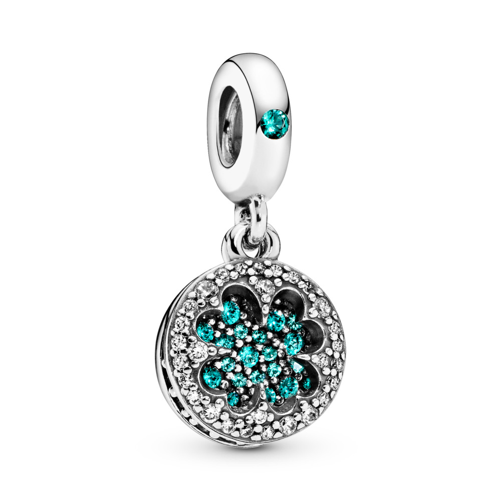 Dazzling Clover Dangle Charm, Sterling silver, Mixed stones - PANDORA - #797906NRGMX