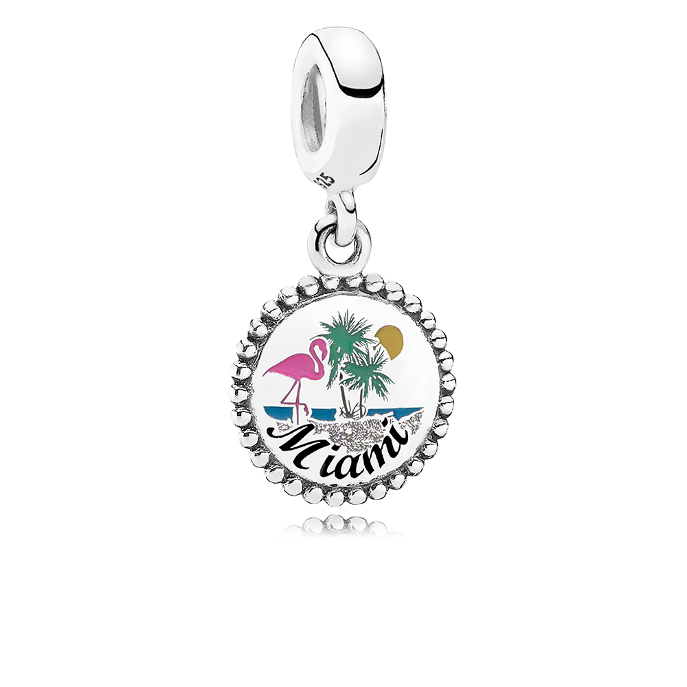 Miami Beach Dangle Charm, Mixed Enamel, Sterling Silver, Yellow - PANDORA - #ENG791169_89