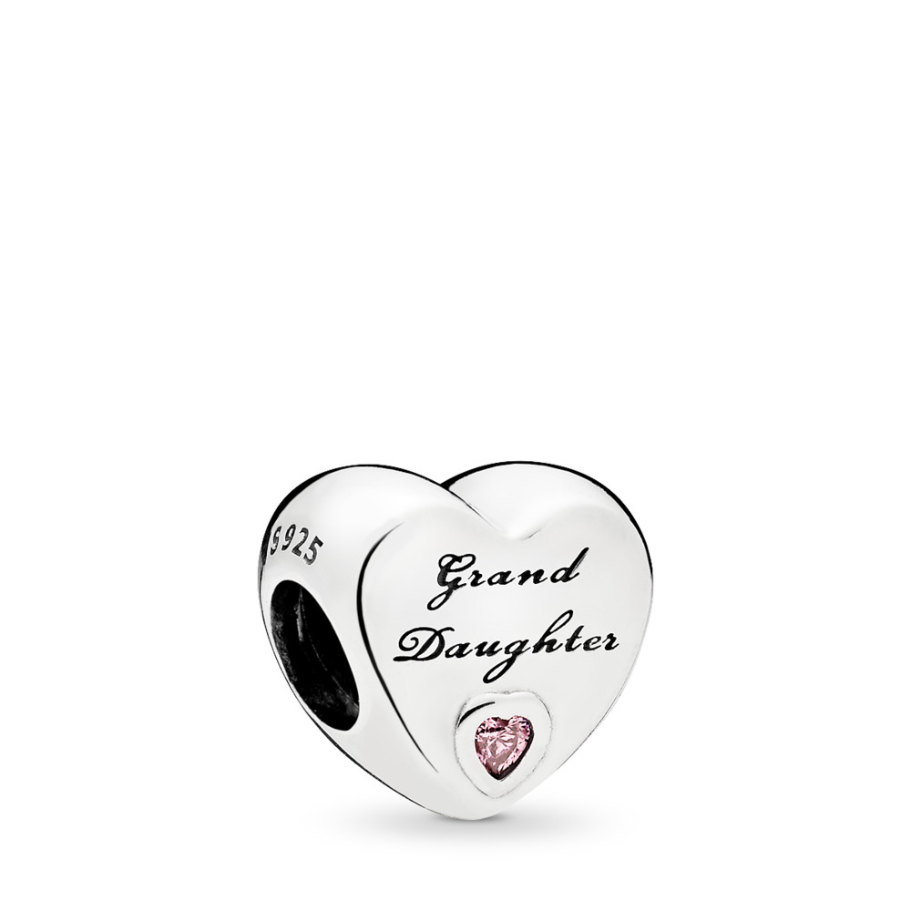 Granddaughter's Love Charm, Pink CZ, Sterling silver, Cubic Zirconia - PANDORA - #796261PCZ