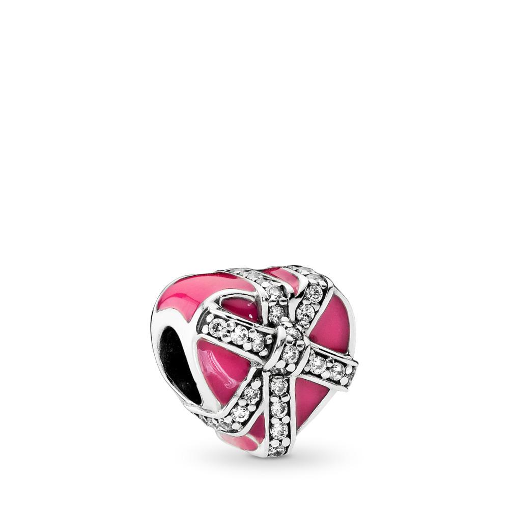 Gifts of Love, Magenta Enamel & Clear CZ, Sterling silver, Enamel, Pink, Cubic Zirconia - PANDORA - #792047CZ