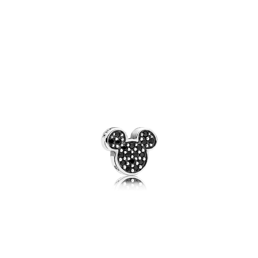 Disney, Sparkling Mickey Icon Petite Locket Charm, Black Crystal