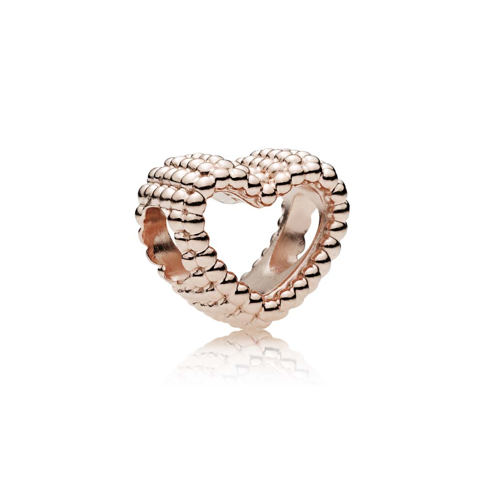 Beaded Heart Charm, PANDORA Rose™