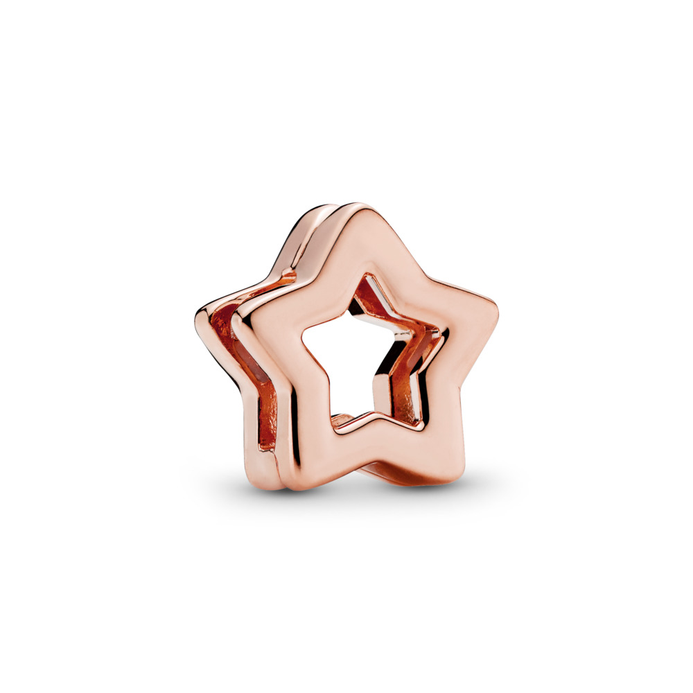 PANDORA REFLEXIONS™ Sleek Star Clip Charm, PANDORA Rose™, PANDORA Rose, Silicone - PANDORA - #787544