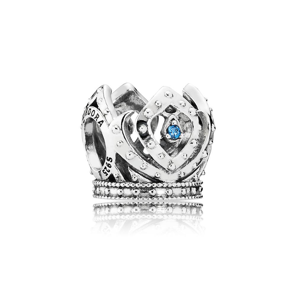 Disney, Elsa's Crown Charm, Blue CZ, Sterling silver, Cubic Zirconia - PANDORA - #791588CZB