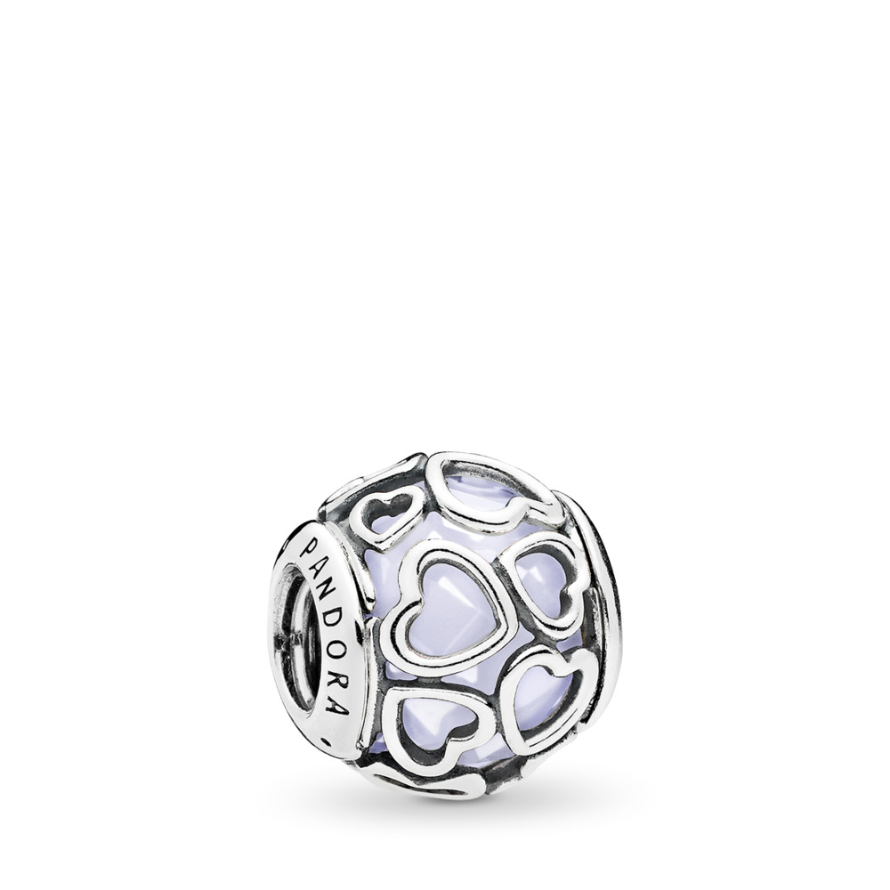 Encased in Love Charm, Opalescent White Crystal, Sterling silver, White, Crystal - PANDORA - #792036NOW