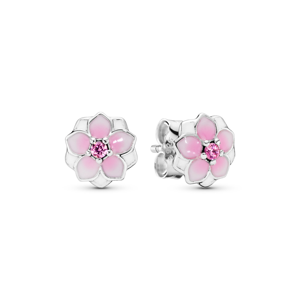 Magnolia Bloom Stud Earrings, Pale Cerise Enamel & Pink CZ, Sterling silver, Enamel, Pink, Cubic Zirconia - PANDORA - #290739PCZ