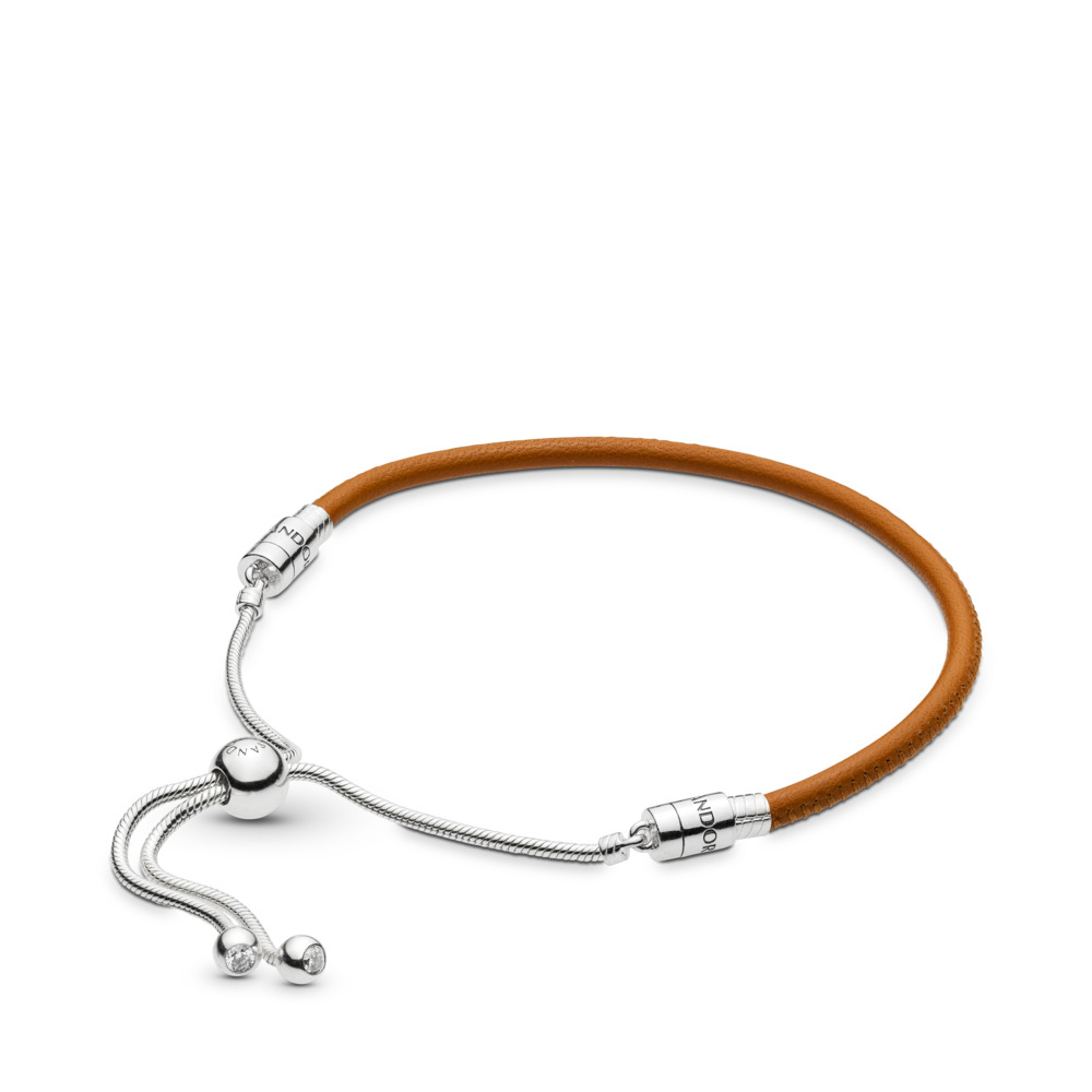 Sliding Golden Tan Leather Bracelet Clear Cz