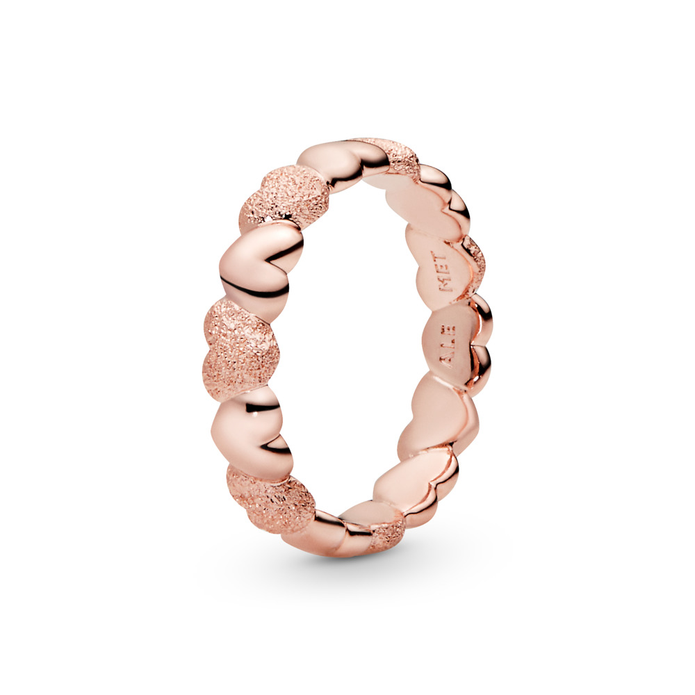 Matte Brilliance Hearts Ring, Pandora Rose™, PANDORA Rose - PANDORA - #187950
