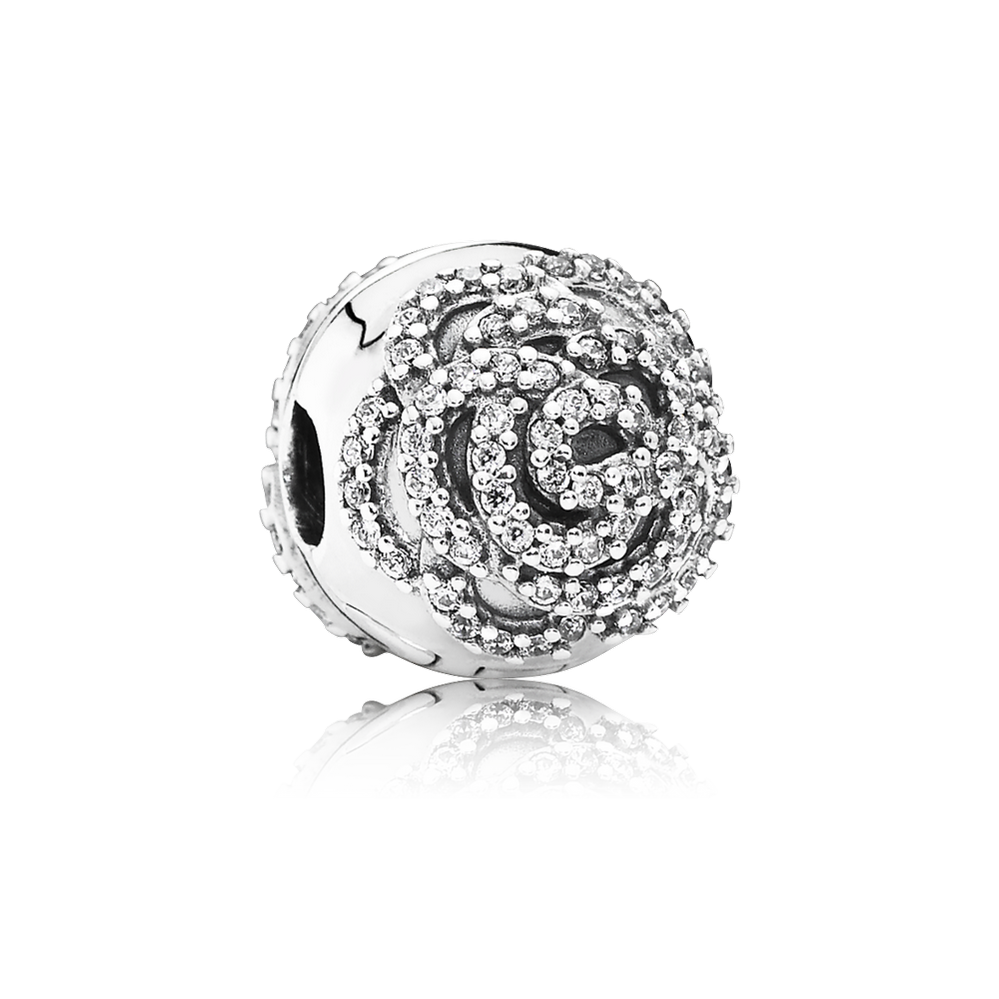 Shimmering Rose Clip, Clear CZ