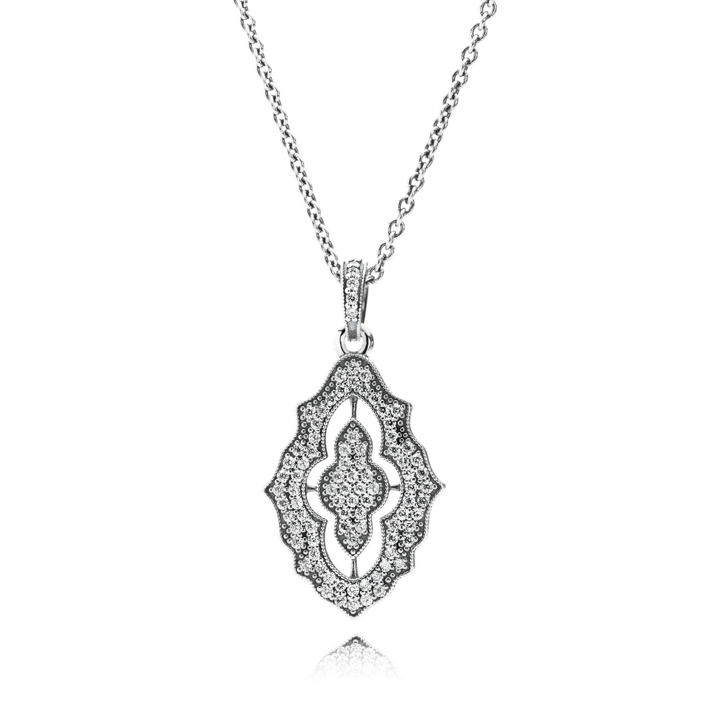 Sparkling Lace Pendant Necklace, Clear CZ