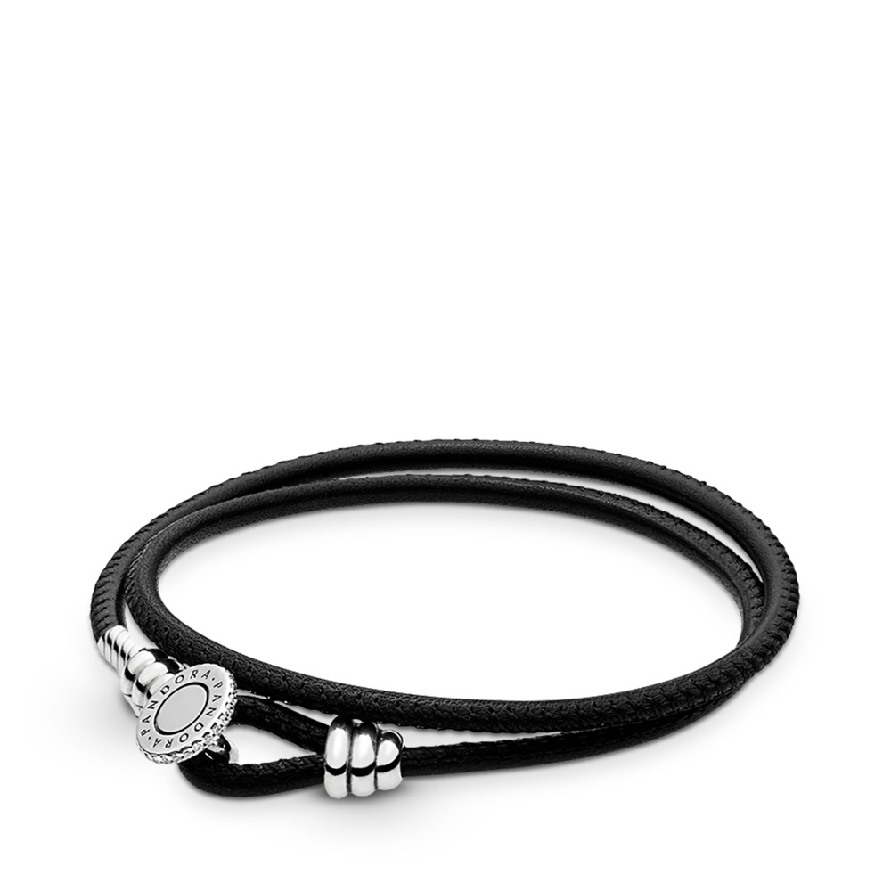 2085c6202 Black Double Leather Bracelet, Clear CZ, Sterling silver, Leather, Black,  Cubic