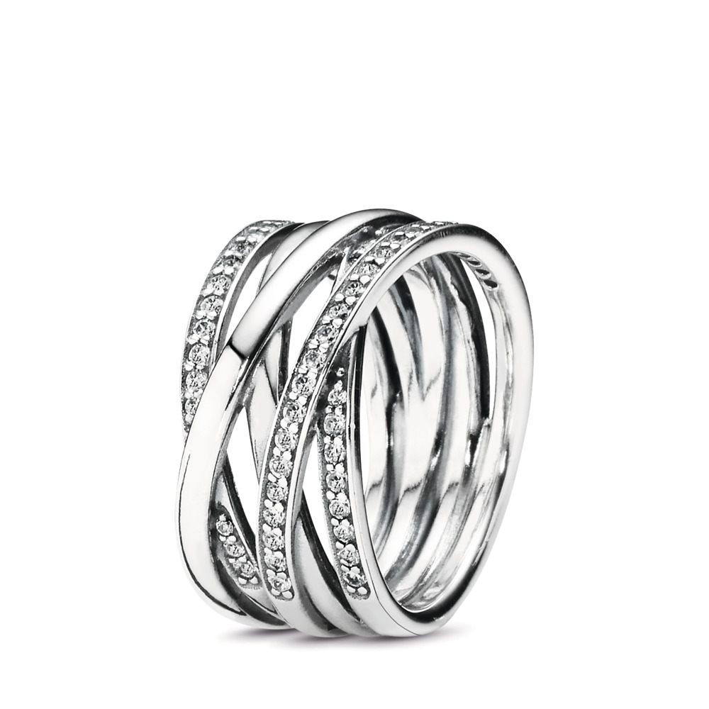 Entwined Ring, Clear CZ, Sterling silver, Cubic Zirconia - PANDORA - #190919CZ