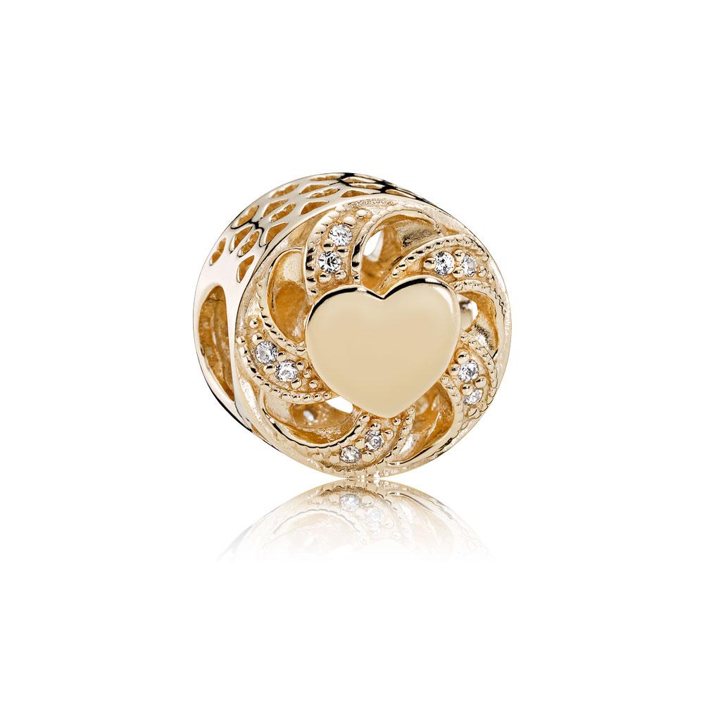 Ribbon Heart Charm, 14K Gold & Clear CZ