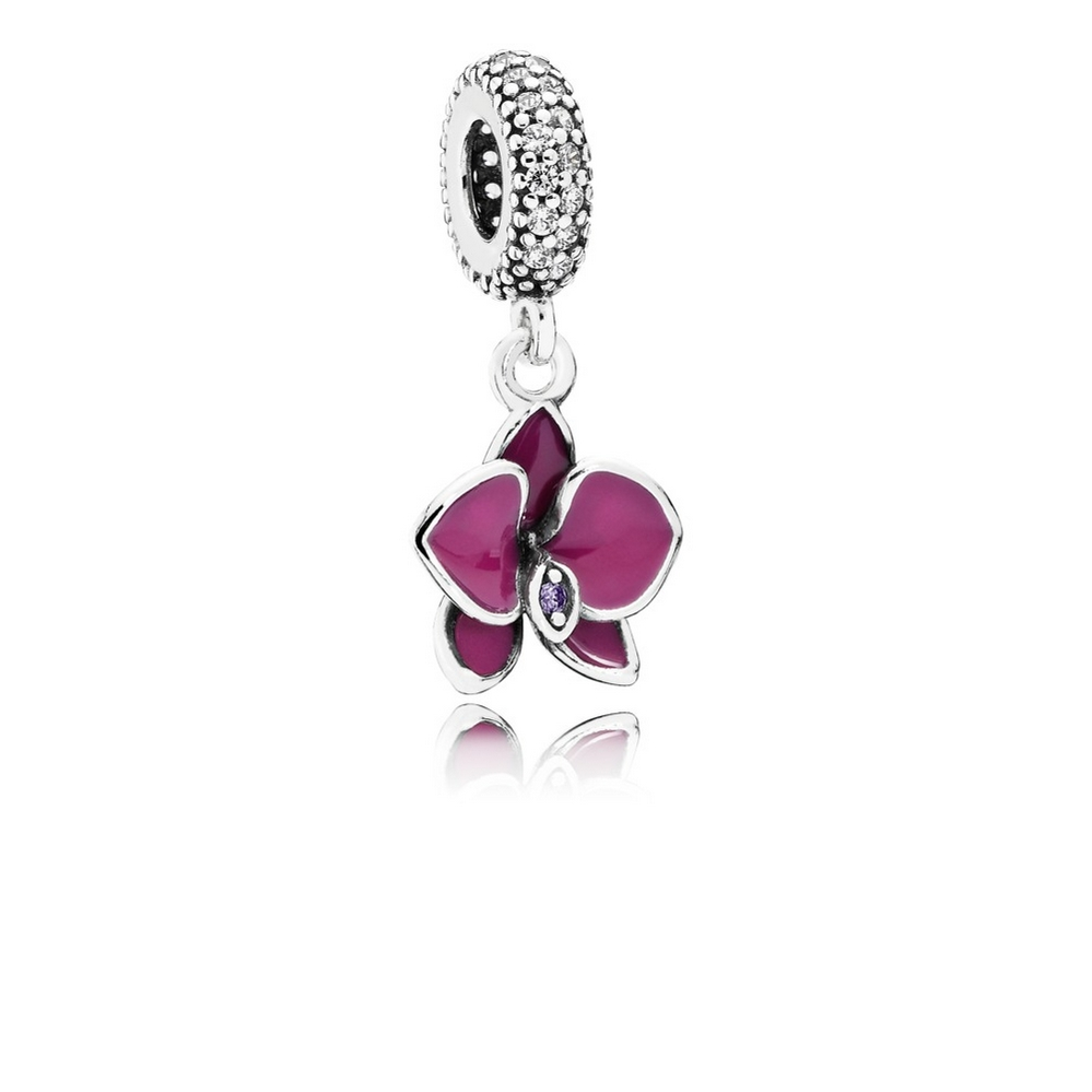 Orchid Dangle Charm, CZ & Radiant Orchid-Colored Enamel