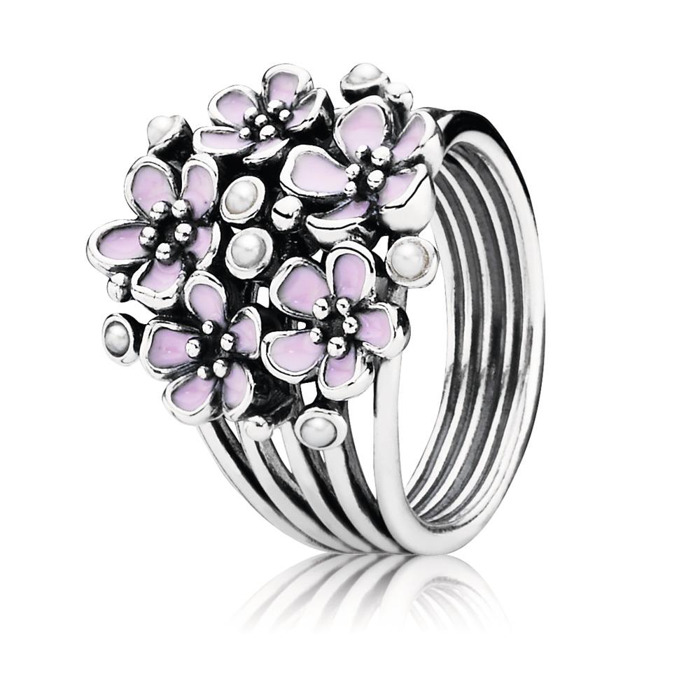 Cherry Blossom Bouquet Ring, Pink Enamel & Pearl, Sterling silver, Enamel, Pink, Freshwater cultured pearl - PANDORA - #190878EN40