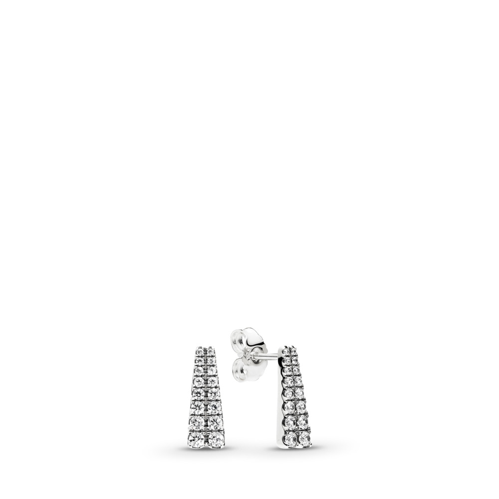 Shooting Stars Stud Earrings, Clear CZ, Sterling silver, Cubic Zirconia - PANDORA - #296367CZ