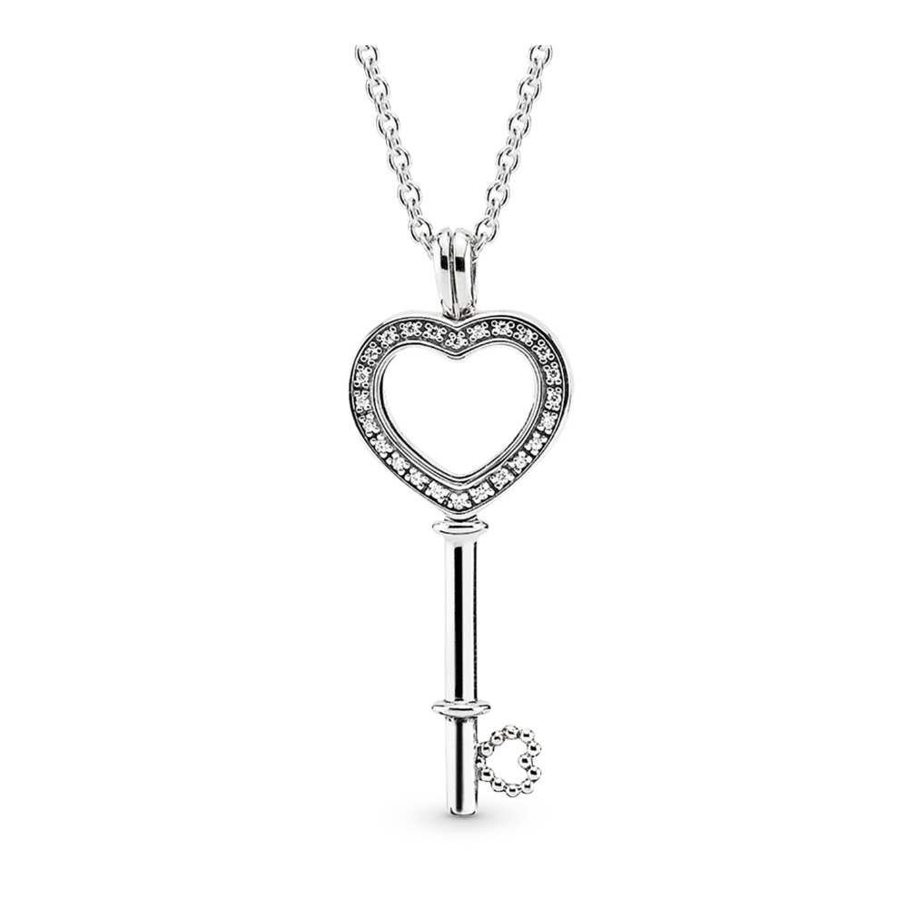 Floating Locket Heart Key Necklace, Sapphire Crystal & Clear CZ, Sterling silver, Mixed Material, Cubic Zirconia - PANDORA - #396581CZ