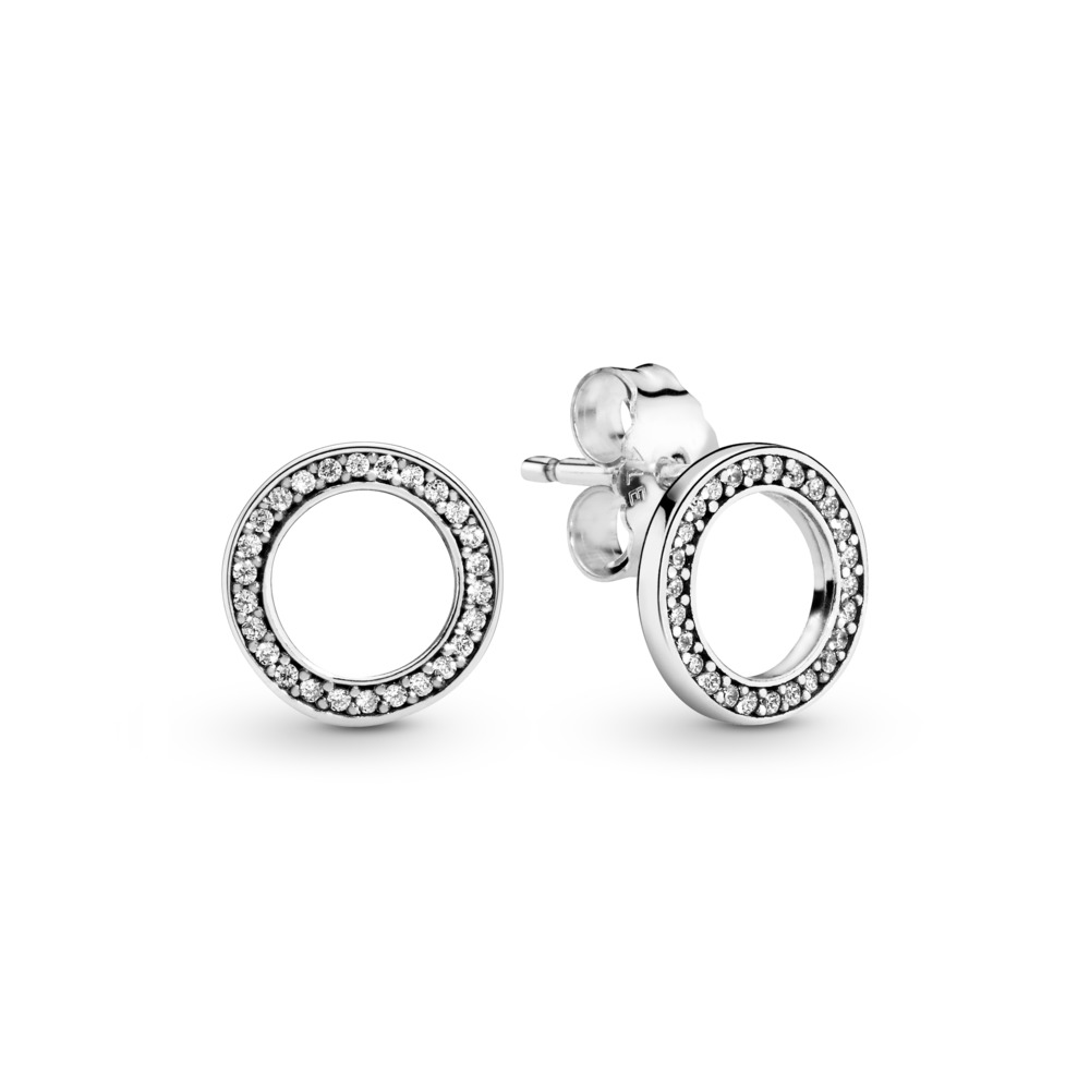 Forever PANDORA Stud Earrings, Clear CZ, Sterling silver, Cubic Zirconia - PANDORA - #290585CZ