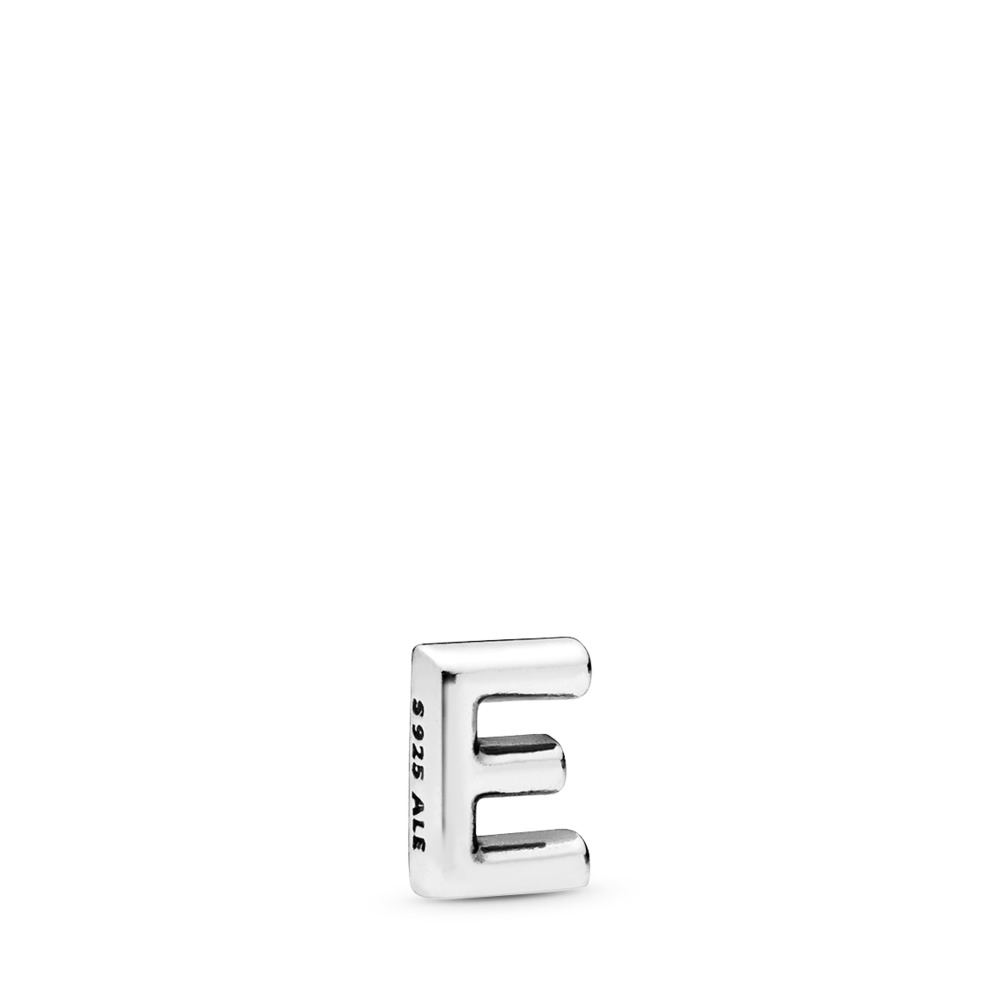 Letter E Petite Locket Charm, Sterling silver - PANDORA - #797322