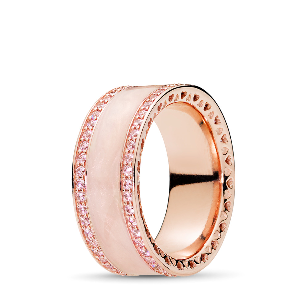 Hearts of PANDORA Ring, PANDORA Rose™, Cream Enamel & Clear CZ