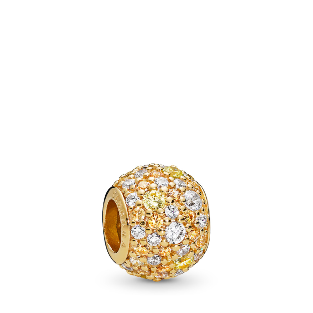 Golden Mix Pavé Charm, PANDORA Shine™ & Multi-Colored CZ, 18ct Gold Plated, Yellow, Cubic Zirconia - PANDORA - #767052CSY