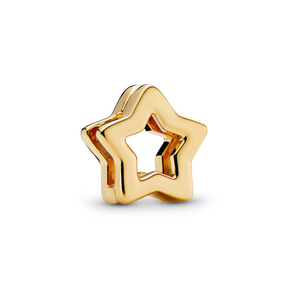 PANDORA REFLEXIONS™ Sleek Star Clip Charm, PANDORA Shine™, 18ct Gold Plated, Silicone - PANDORA - #767544