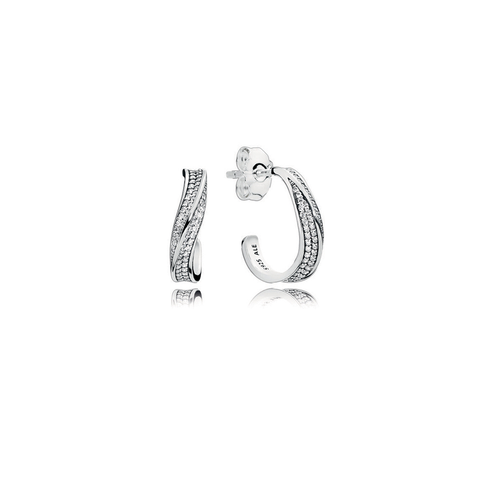 Elegant Waves Hoop Earrings, Clear CZ
