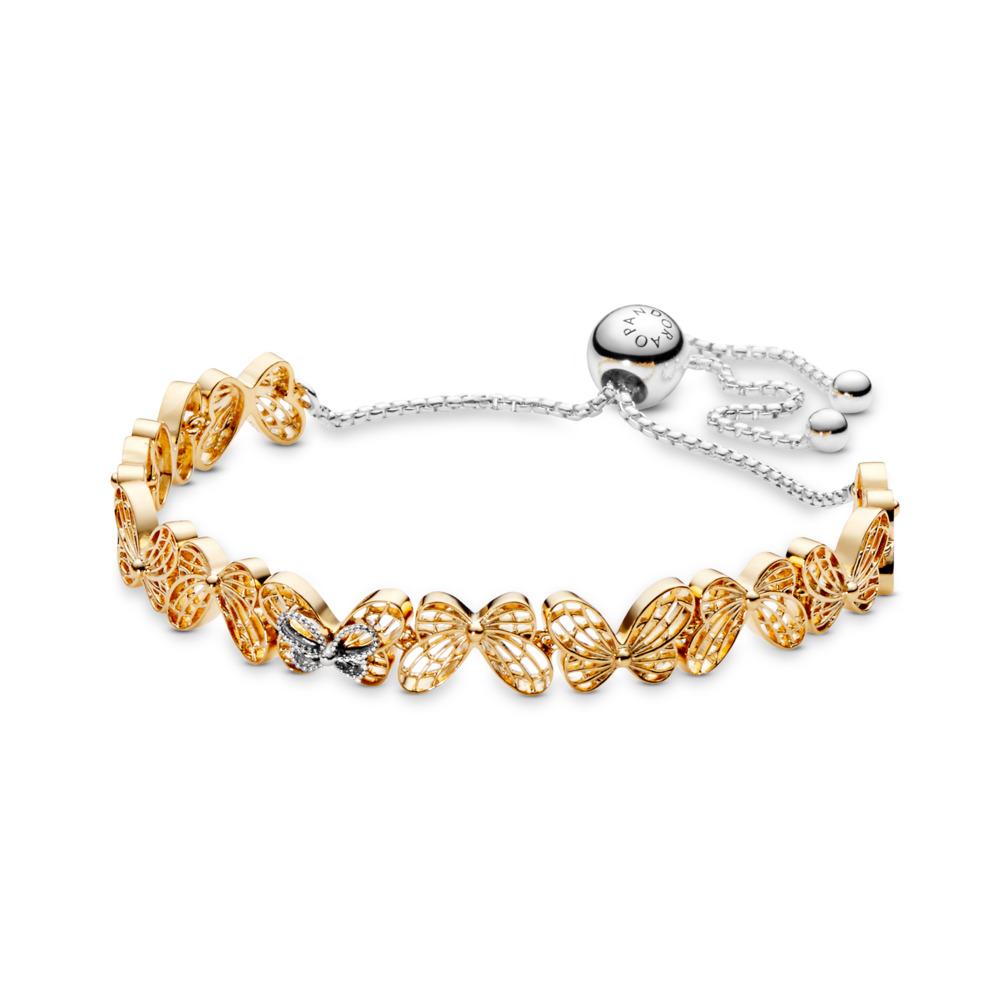Openwork Butterflies Sliding Bracelet, Pandora Shine™, PANDORA Shine and sterling silver - PANDORA - #567957