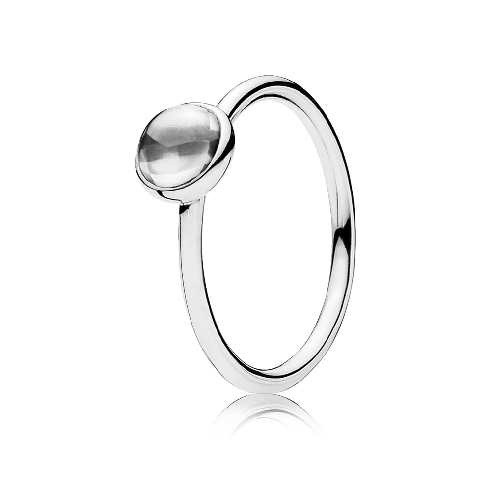 Poetic Droplet Ring, Clear CZ, Sterling silver, Cubic Zirconia - PANDORA - #190983CZ