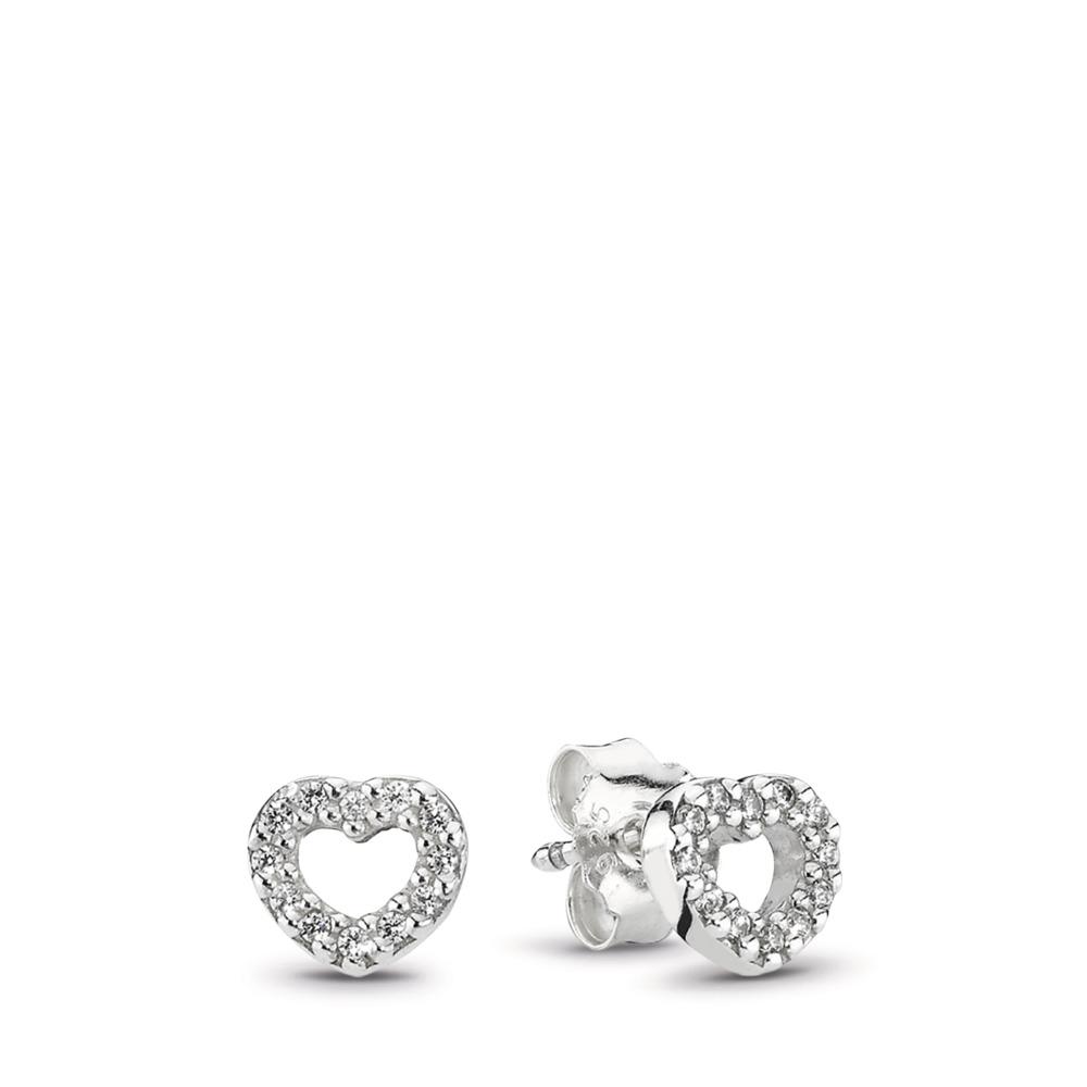 b203c7b8d Be My Valentine Heart Stud Earrings, Clear CZ, Sterling silver, Cubic  Zirconia -